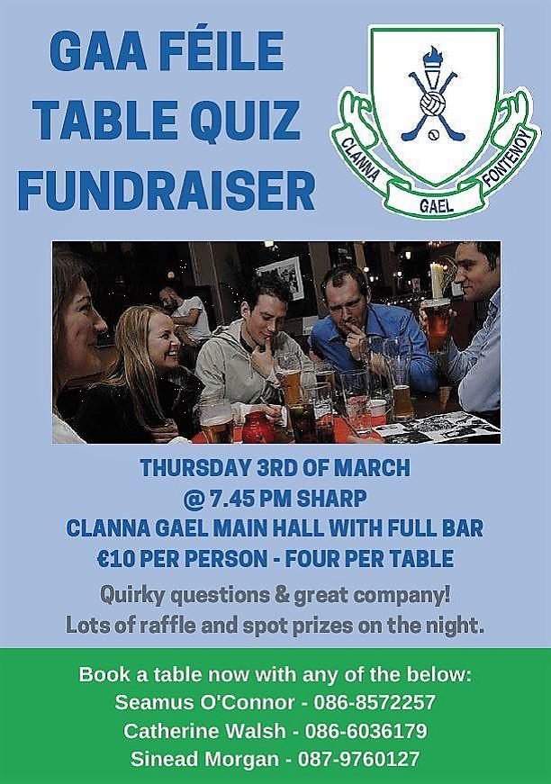 feile table quiz thank you for the support clanna gael